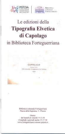 Le edizioni della Tipografia Elvetica di Capolago in Biblioteca Forteguerriana