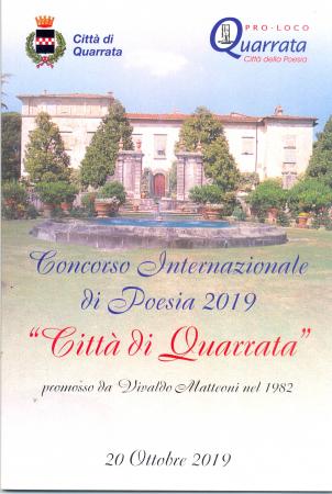 38. edizione del Concorso letterario internazionale di poesia Città di Quarrata, anno 2019