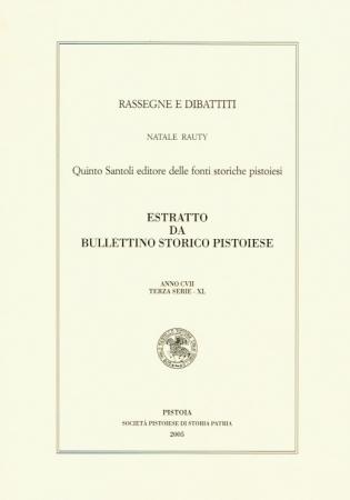 Quinto Santoli editore delle fonti storiche pistoiesi