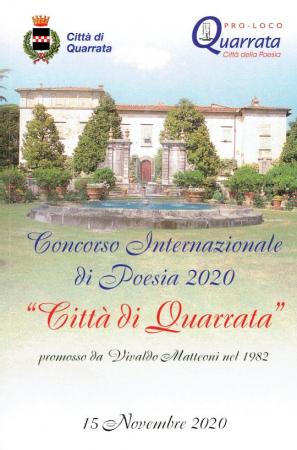 """39. edizione del Concorso letterario internazionale di poesia """"Città di Quarrata"""", anno 2020"""