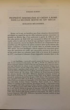 Propriété immobilière et crédit à Rome dans la seconde moitié du 14. siècle