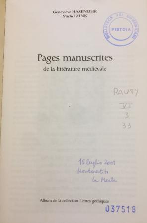 Pages manuscrites de la littérature médiévale